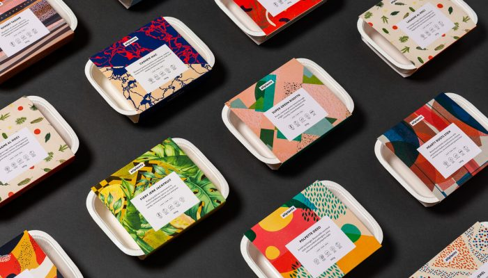 Colorful display of Allplants company meal packages